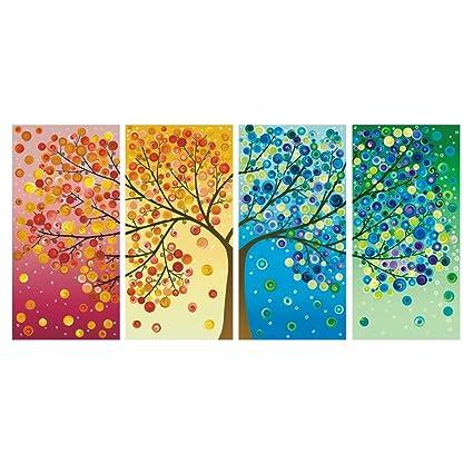 Amazon.com: GEVES Framed 4 Panels Colorful Seasons Tree of Life ...