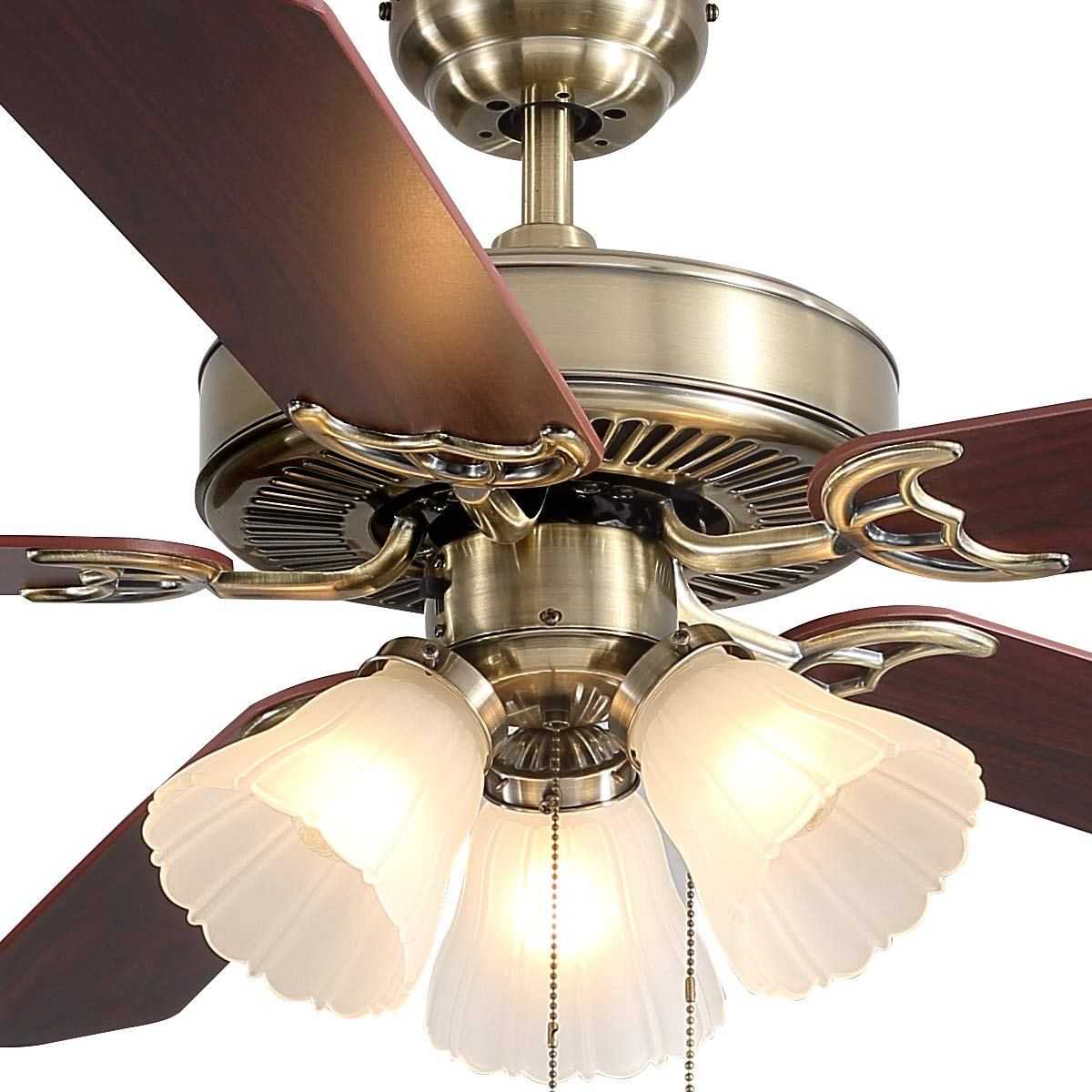 KMM 52-inch Indoor Ceiling Fan,Pull Switch Control,Motor Can be reversed,Wood Ceiling Fan Blade Match Green Bronze Cover,for Dining Room Bedroom Living Room Kitchen.