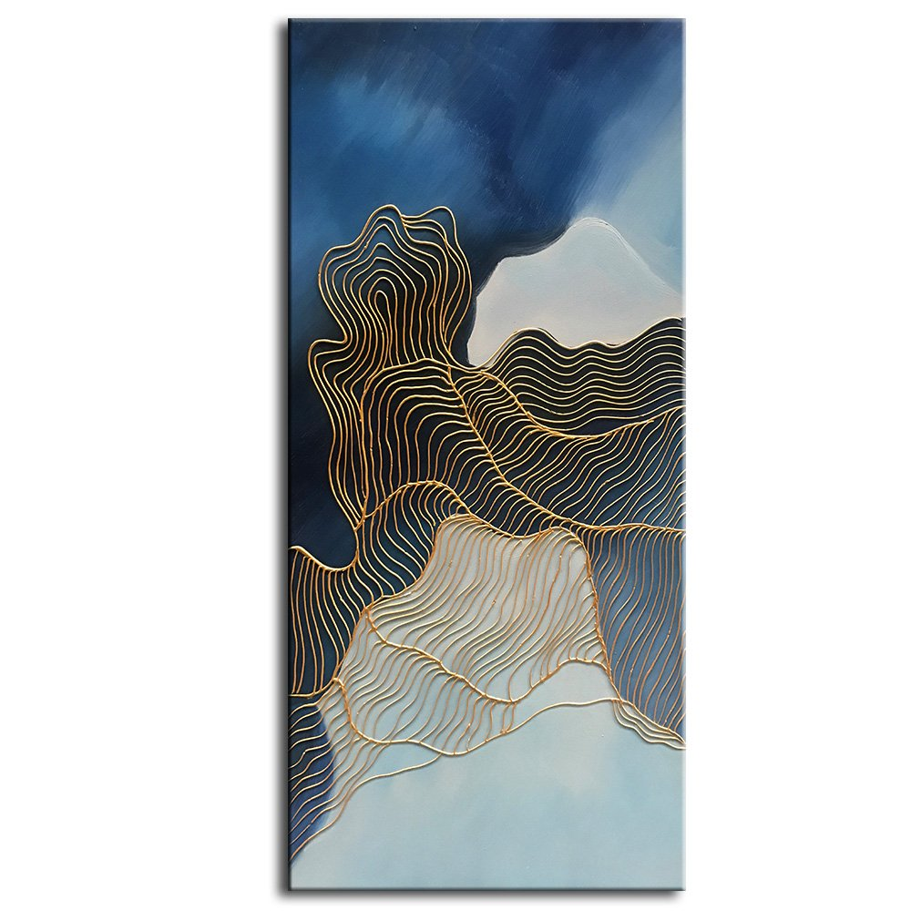 baccow NO.1 of the 3 Panel 100% Hand Painted Blue 3D Abstract Canvas Wall Art Oil Painting on Canvas for Wall Decoration Modern Painting Home Decor Stretched and Framed Ready to Hang 2448inch