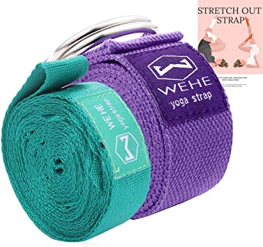 WEHE 2 Pack Stretch Straps Exercise Bands Yoga Physical Therapy Carrying Fitness Set, with Adjustable Flexibility Multi Loops Stretching Belt | Bonus ...