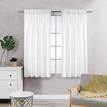 Amazon.com: Privacy Sheer Curtains for Bedroom Kitchen Window ...