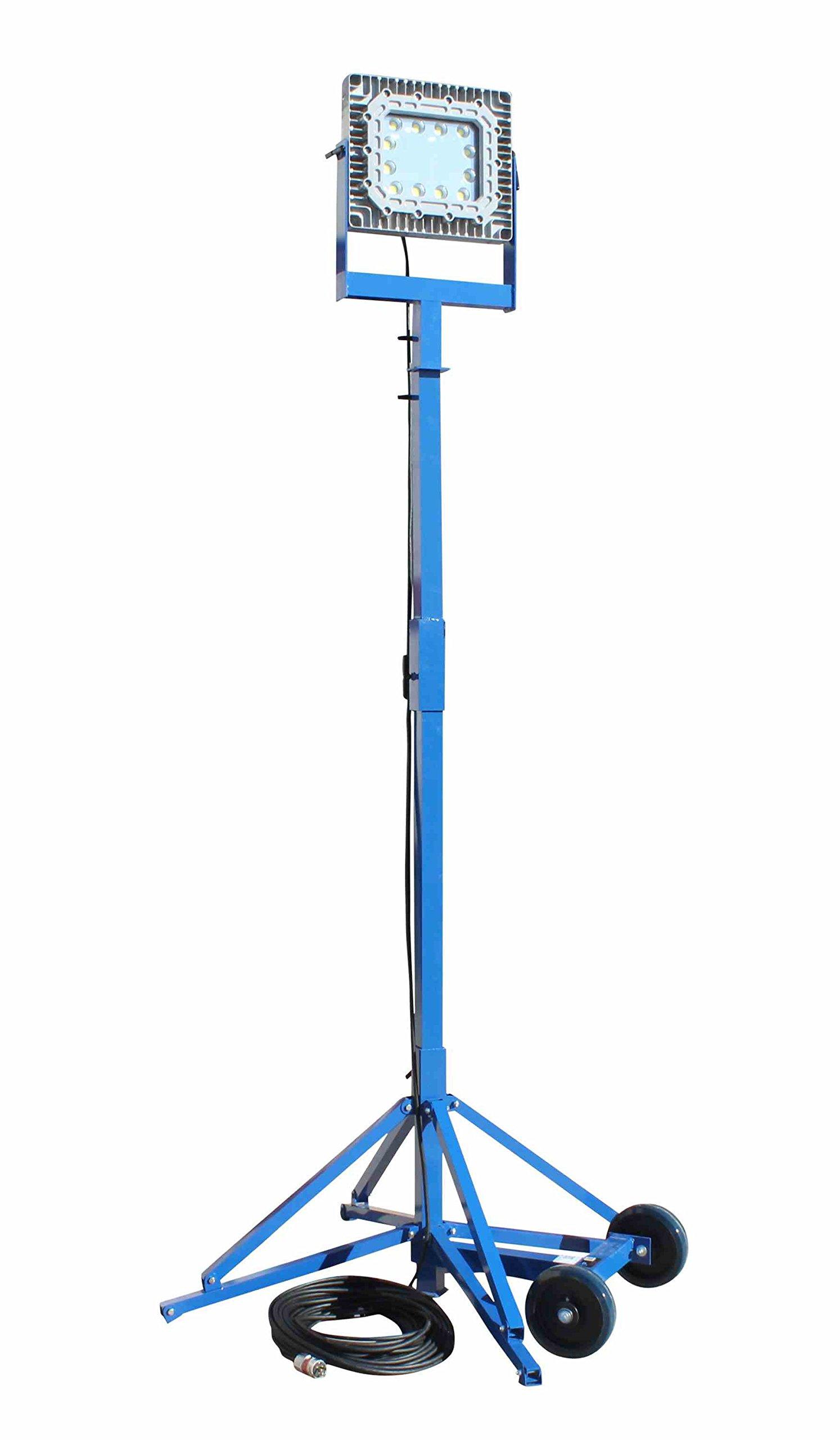 150W Exp. Proof LED Light Tower - Quadpod Mount - C1D1-200' 16/3 TPE SEOOW w/C1D1 Cable Gland