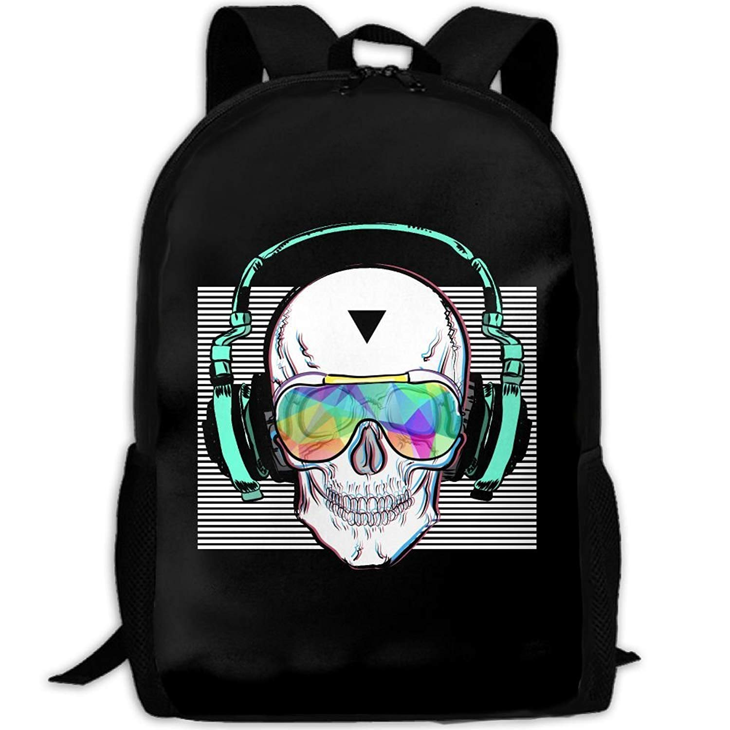 Backpack for Adults Hiking Big High Black Canvas Cool Skull Daypacks