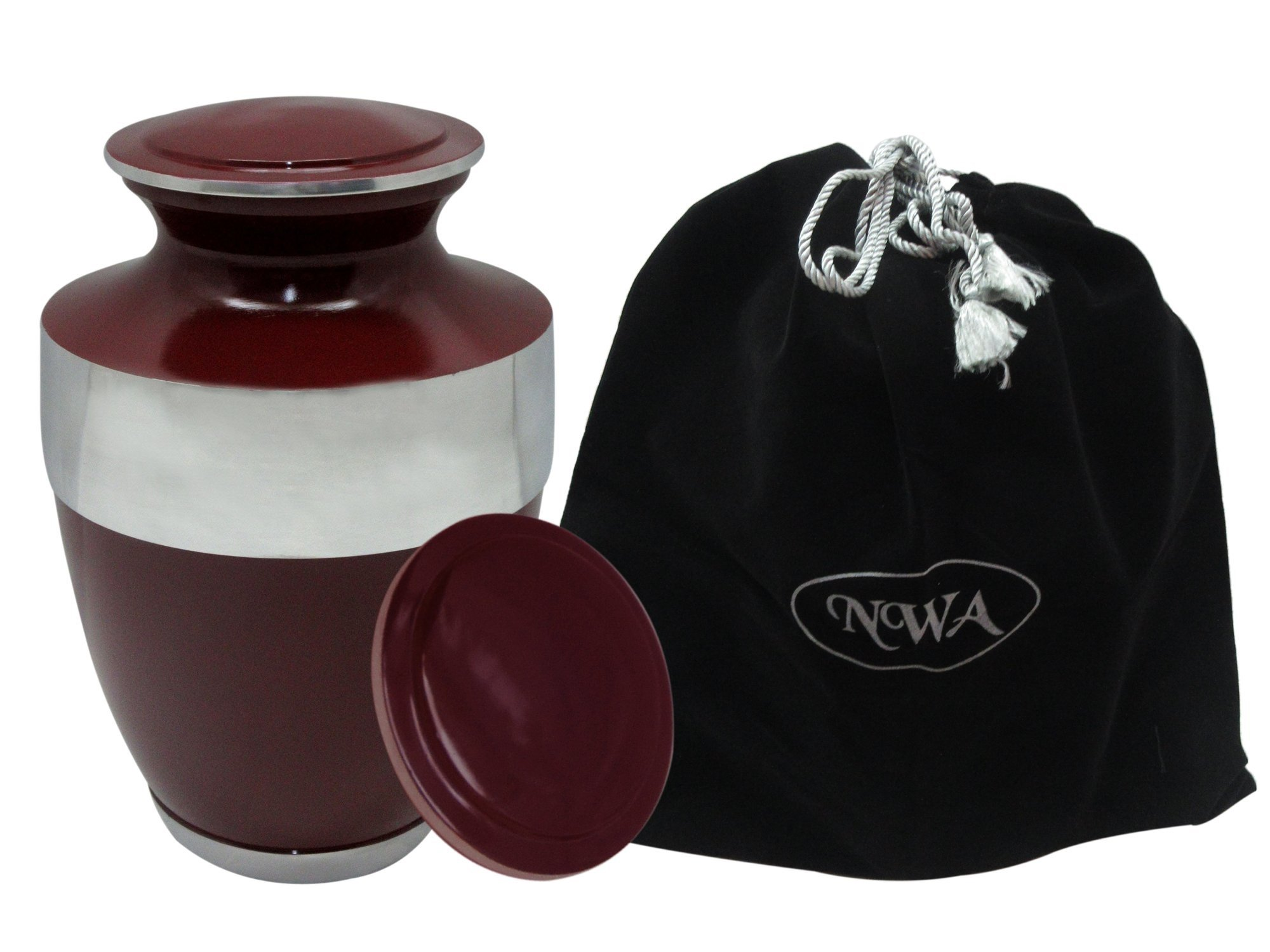 Urns for Human Ashes, Beautiful Personalised Maroon Cremation Urn, Memorial Adult Human Urn with Customization and Velvet Bag by NWA