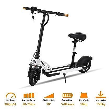 AIMADO E-Scooter Patinetes Electricos con Asiento Plegable Portátil, 400W 35 km Batería Recargable 36V, Pro Monopatín de Aluminio para Adolescentes ...