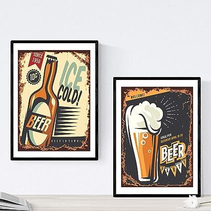 Pack de Posters de Cervezas y chupitos. Láminas de Anuncio Retro Cerveza. Posters de Alcohol y Bebidas para Bares. Tamaño A3