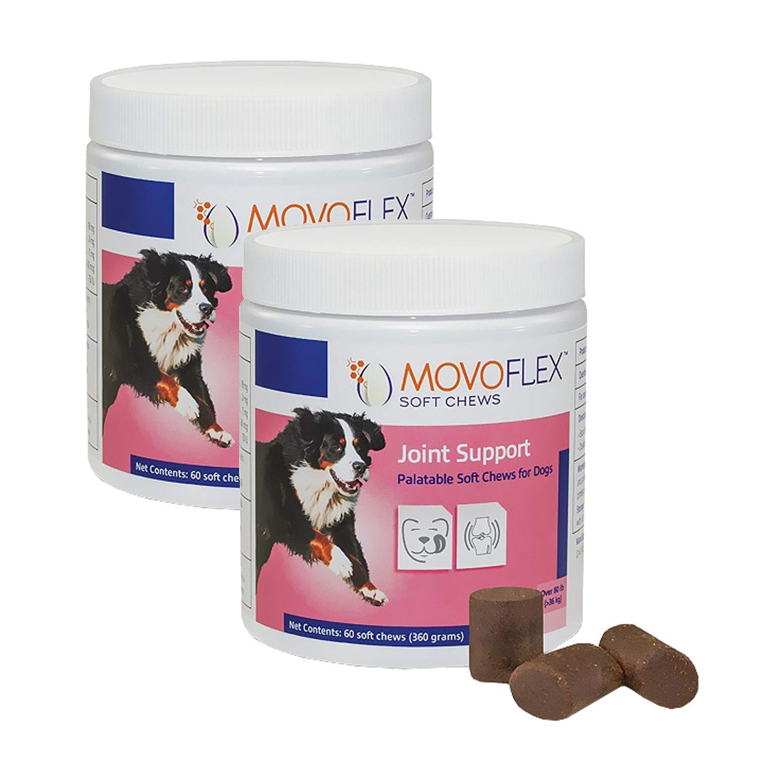 MoVoFlex Joint Support Soft Chews for Dogs Large 120Count, Brown