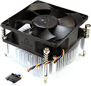 Aquamoon Trading X3JDD Genuine OEM Dell OptiPlex 3020 7020 7010 MT Precision T1650 65W Processor CPU Cooling Heatsink Fan Assembly 3.5 Inch Black 5-pin Header 4-wire Cable Captive Screws 89R8J