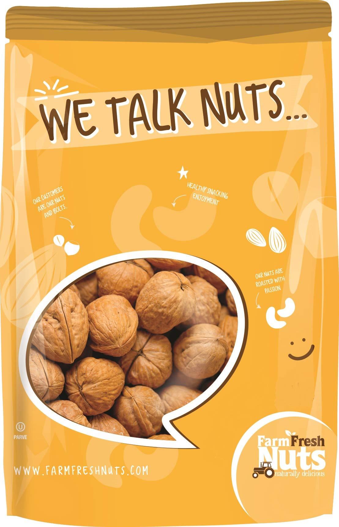 WALNUTS In Shell- JUMBO Natural California Walnuts- Great Source of Omega 3 -!! FRESH NEW CROP !! (2 LB) by Farm Fresh Nuts