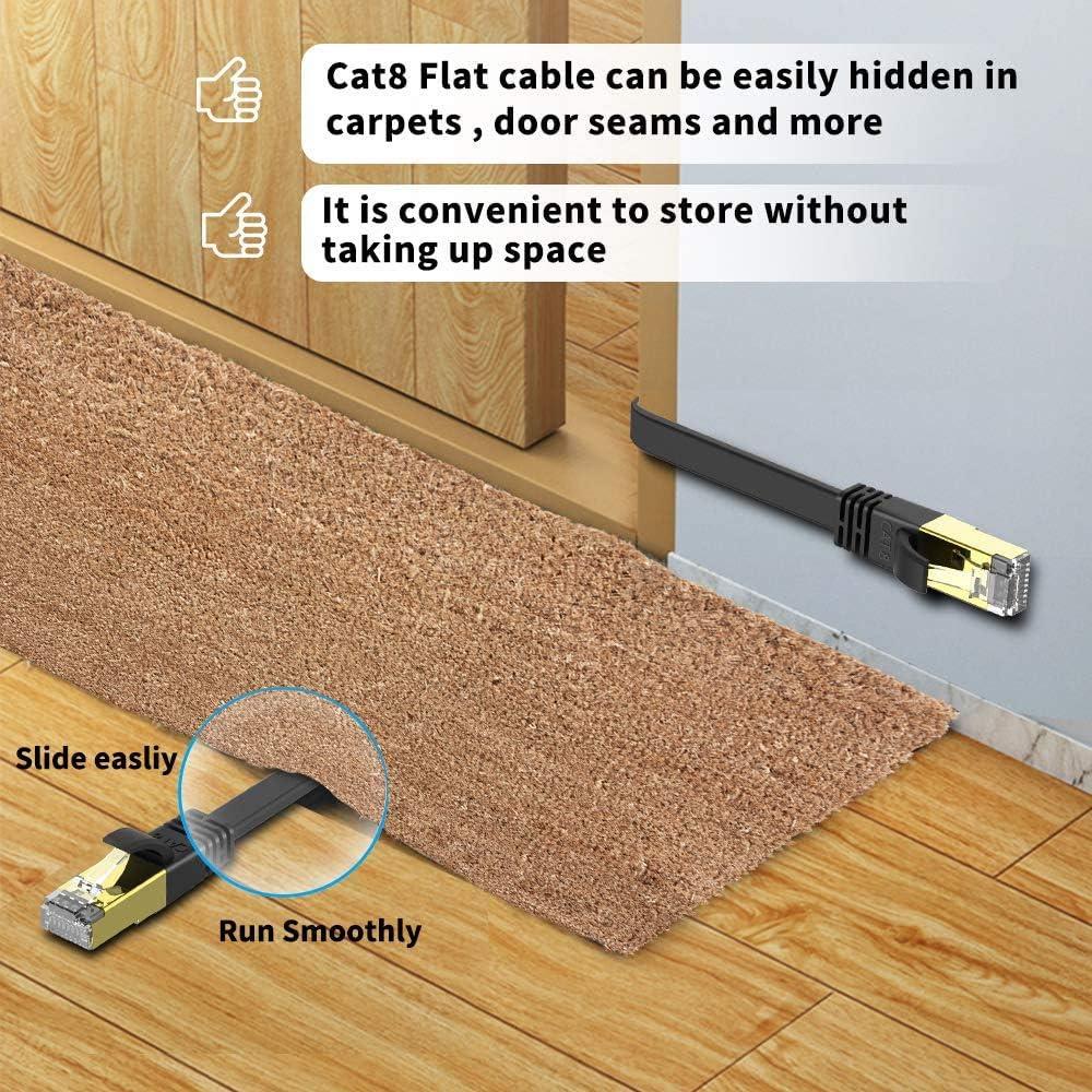 Veetop Cavo Ethernet Piatto LAN Cat 8 RJ45 per Rete Alta velocit/à 40 Gbps Nero - 1m 2000 MHz