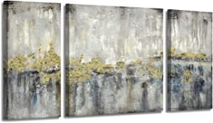 Modern Abstract Canvas Wall Art: Gold & Grey Artwork Painting Picture for Living Rooms (12x24''x2+24x24'')