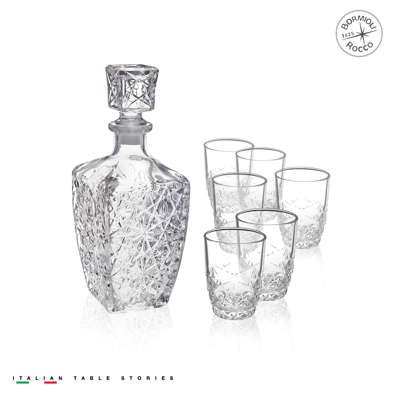 Bormioli Rocco Dedalo Whiskey Gift Set – Sophisticated 26.25oz Diamond Decanter & 6 Etched 8.75oz Whiskey Glasses With Sparkling Star-Cut Detailing – For Whiskey, Bourbon, Scotch & Liquor 226040S1A021990