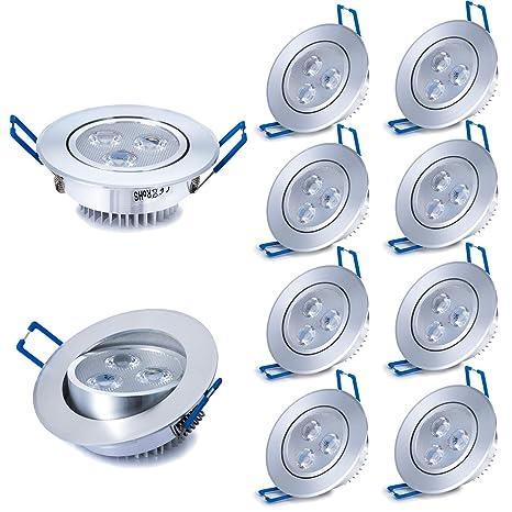 Liqoo® 10X 3W Focos Empotrable LED Incluye Transformador Luz de Techo Downlight Projector Blanco Frío