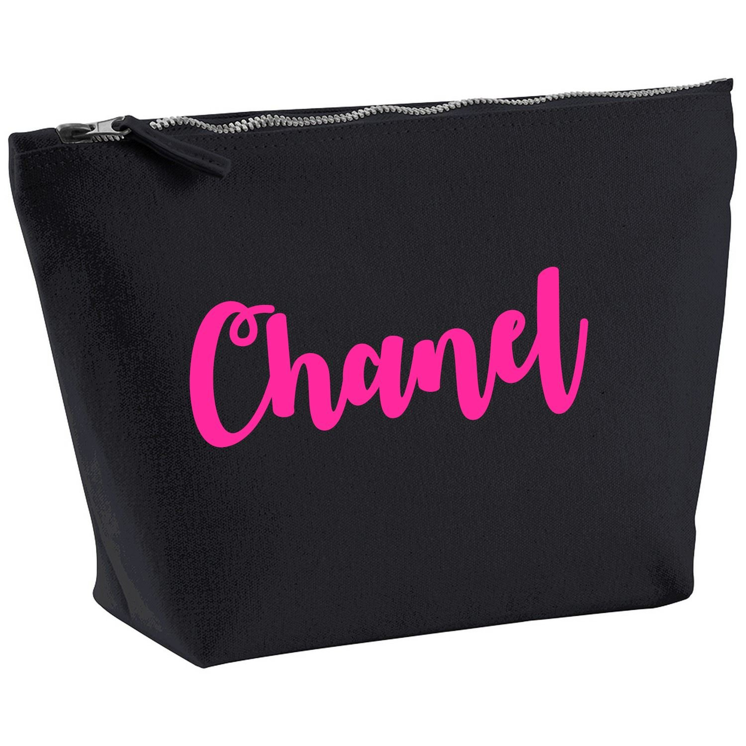 6120d593b25565 Chanel Personalised Name Cotton Canvas Black Make Up Accessory Bag Wash Bag  Size 14x20cm. The perfect personalised Gift for All occasion, Christmas, ...