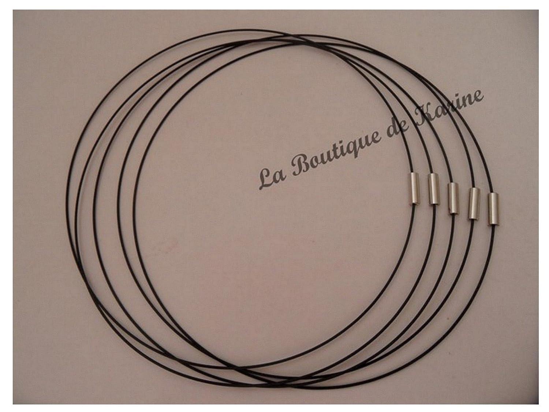 colore nero per perline colorate con chiusura a vite 5 pezzi Collane girocollo semi-rigide