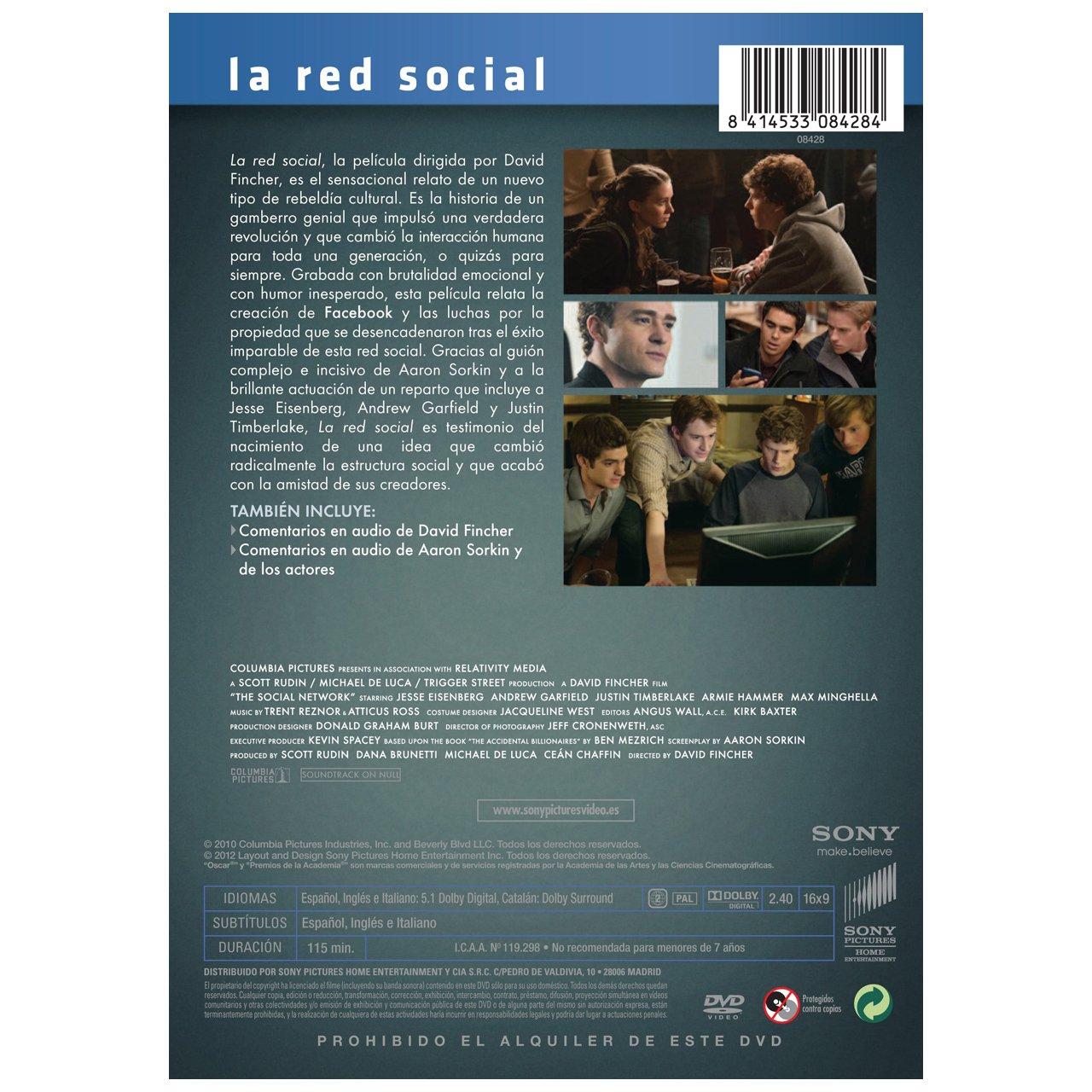 La Red Social [DVD]: Amazon.es: Jesse Eisenberg, Andrew Garfield, Justin Timberlake, David Fincher: Cine y Series TV