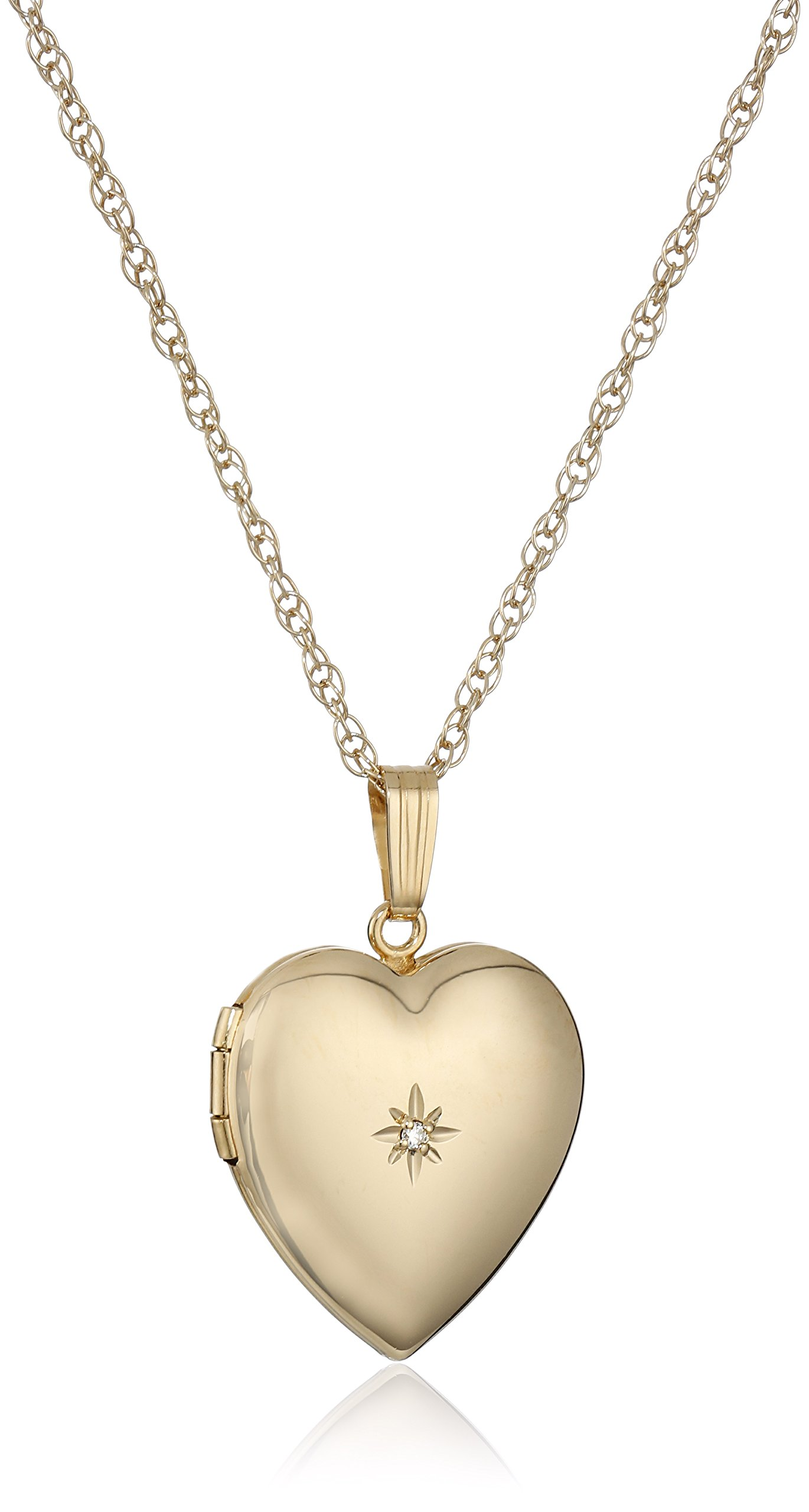 14k Yellow Gold-Filled Heart Locket with Diamond-Accent, 18''