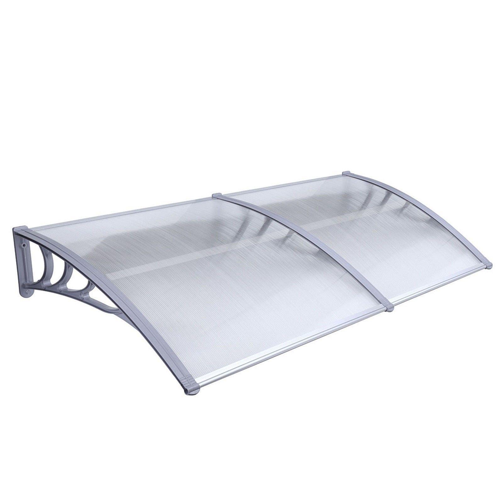 MCombo 40''×120''/40''x 80'' Window Overhead Door Awning Patio Outdoor Polycarbonate Cover Front Door Rain Sun Shetter Garden Canopy Hollow Sheet (40''x80'', White Canopy/Silver Bracket)