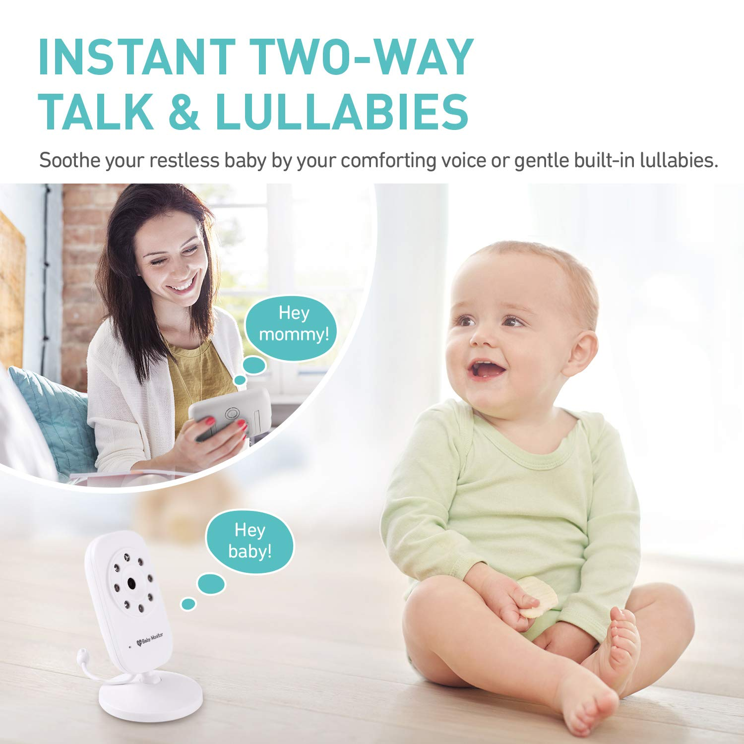 Baby Monitor, Video Baby Monitor with 3.5 inch LCD Screen Display Infant Night Vision Camera,Two Way Audio,Temperature Sensor,ECO Mode,Lullabies and Long Transmission Range by Babebay (Image #2)