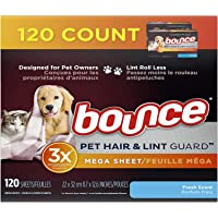Bounce Pet Hair and Lint Guard Mega Dryer Sheets for Laundry, Fabric Softener with 3X Pet Hair Fighters, Fresh Scent…