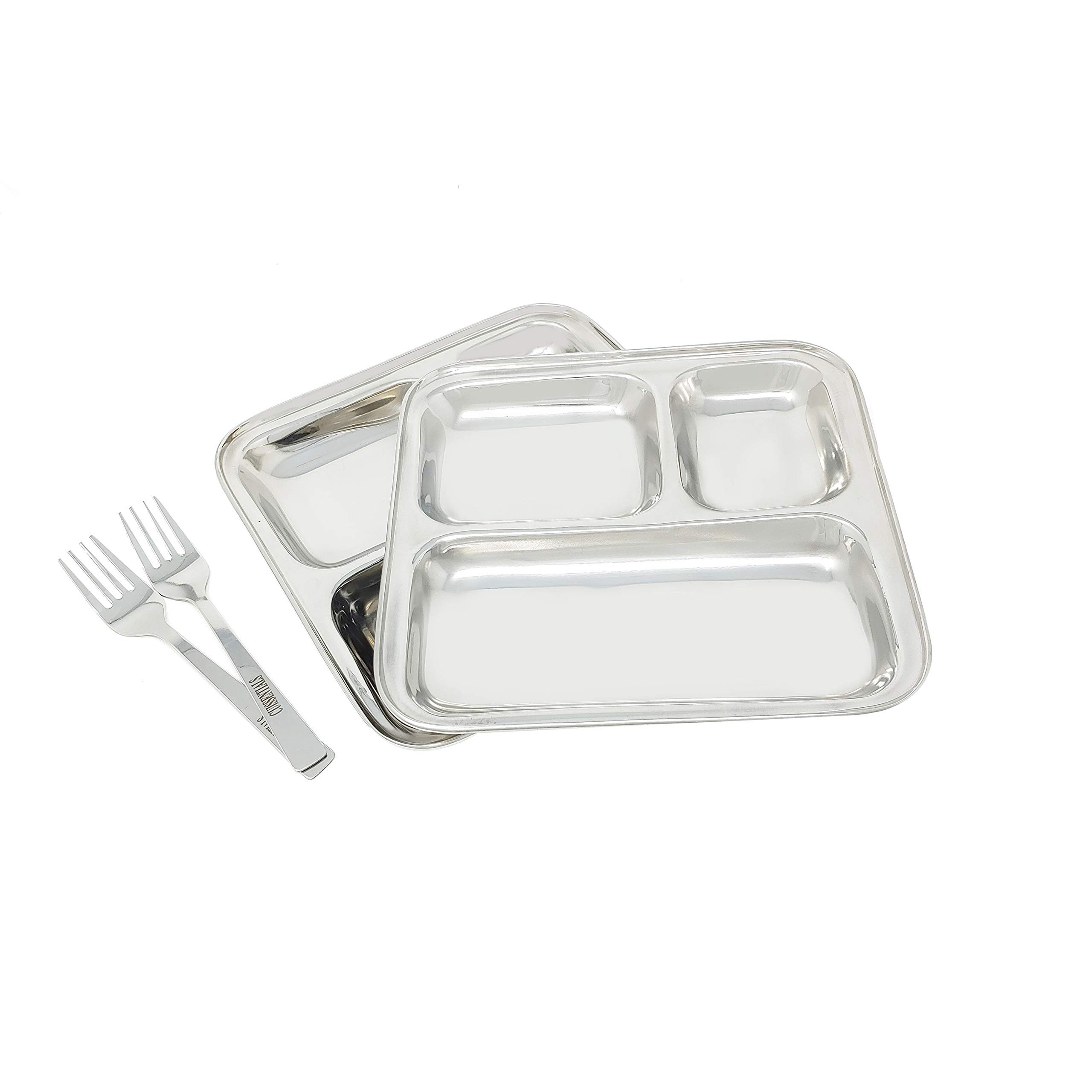 3 Section Stainless Steel Trays Set of 2 Plates with 2 Free Fork - Every Day Use for Picnic Kids School Camping Travel - 10 inches by Cuissentials