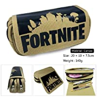Fortnite Pencil Case,Large Capacity Stationery Pencil Pouch Bag Card Case Canvas Cosmetic Organizer with Two Big Pockets for Boys,Girls,Teens,Adults