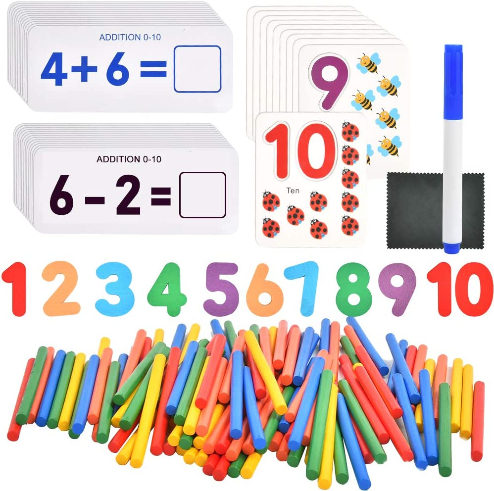 Math Spelling Learning Toys Wooden Puzzle Game Toys for 3-7 Years Boys Girls Preschool Educational Learning Digital POKIENE Spelling Game for Kids Fun Learning Book /& Gift for Kid