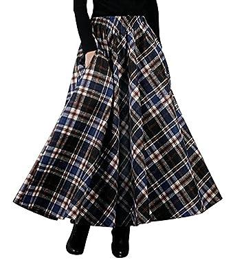 C☯H Damen Wollrock Winterrock Herbstrock lang A-Linie  Amazon.de  Bekleidung 5840265e81