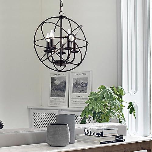 Edvivi Dover 5-Light Antique Bronze Globe Sphere Orb Cage Chandelier 16Ceiling Fixture