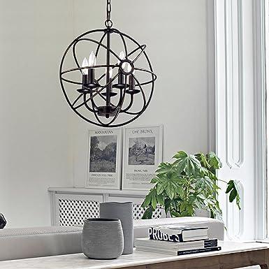 Edvivi Dover 5-Light Antique Bronze Globe Sphere Orb Cage Chandelier 16Ceiling Fixture Modern Farmhouse Lighting