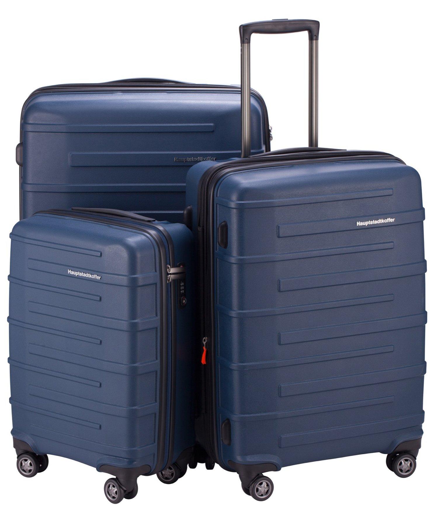 "HAUPTSTADTKOFFER Ostkreuz Luggages Set Matt Suitcase Set Hardside Spinner Trolley Expandable (20"", 24"" & 28"") TSA Blue"