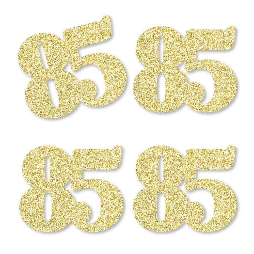 Gold Glitter 85 - No-Mess Real Gold Glitter Cut-Out Numbers - 85th Birthday Party Confetti - Set of 24 by Big Dot of Happiness