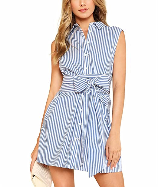 Vestido de Mujer, Lananas Linda Sin Mangas Botones Blanco y Azul Raya Cinturón