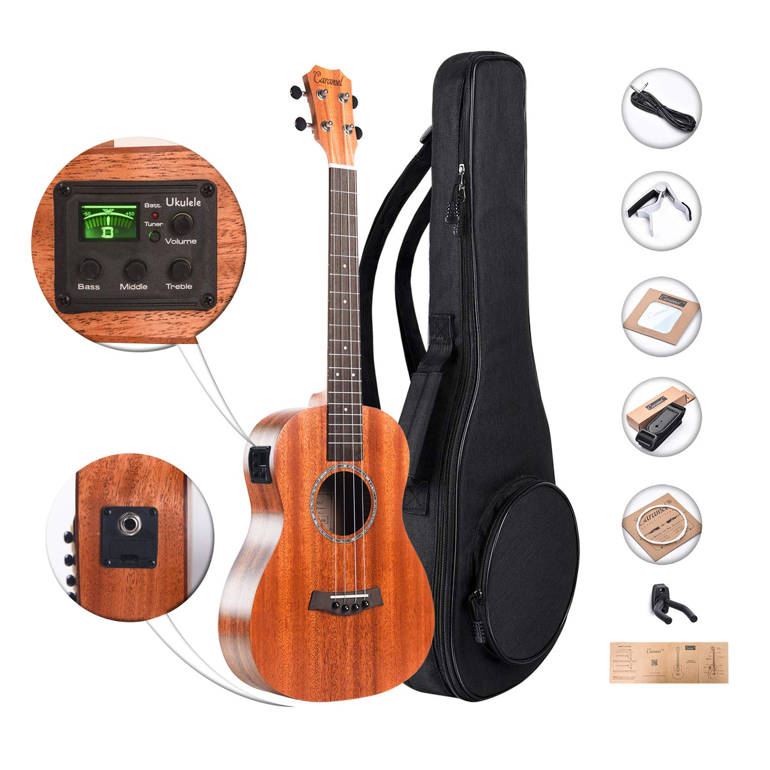 Caramel CB402 All Solid Mahogany Baritone Acoustic Electric Ukulele with Truss Rod with D-G-B-E Strings & free G-C-E-A strings, Padded Gig Bag, Strap and EQ cable