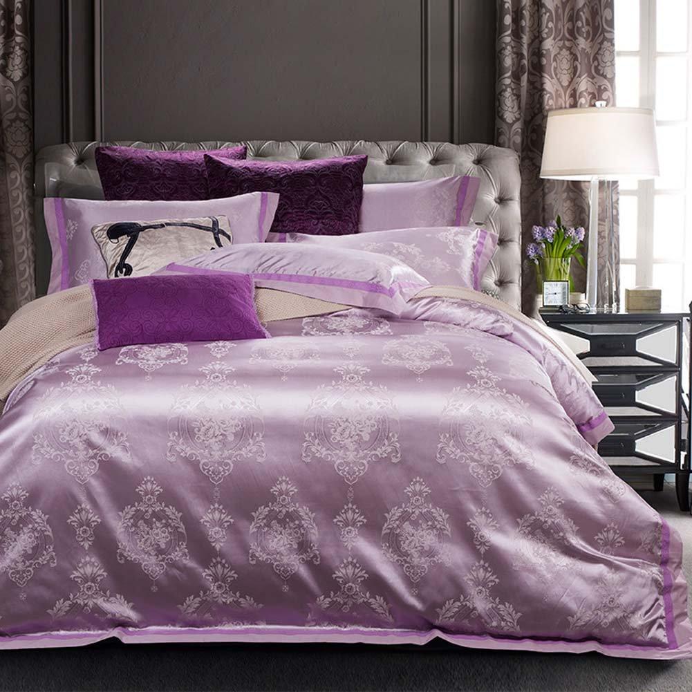 綿のサテンのジャカードヨーロッパの結婚式4ピースセットの寝具 - シンプルでモダンなヨーロッパスタイル B07FRMW5PD C 200*230cm