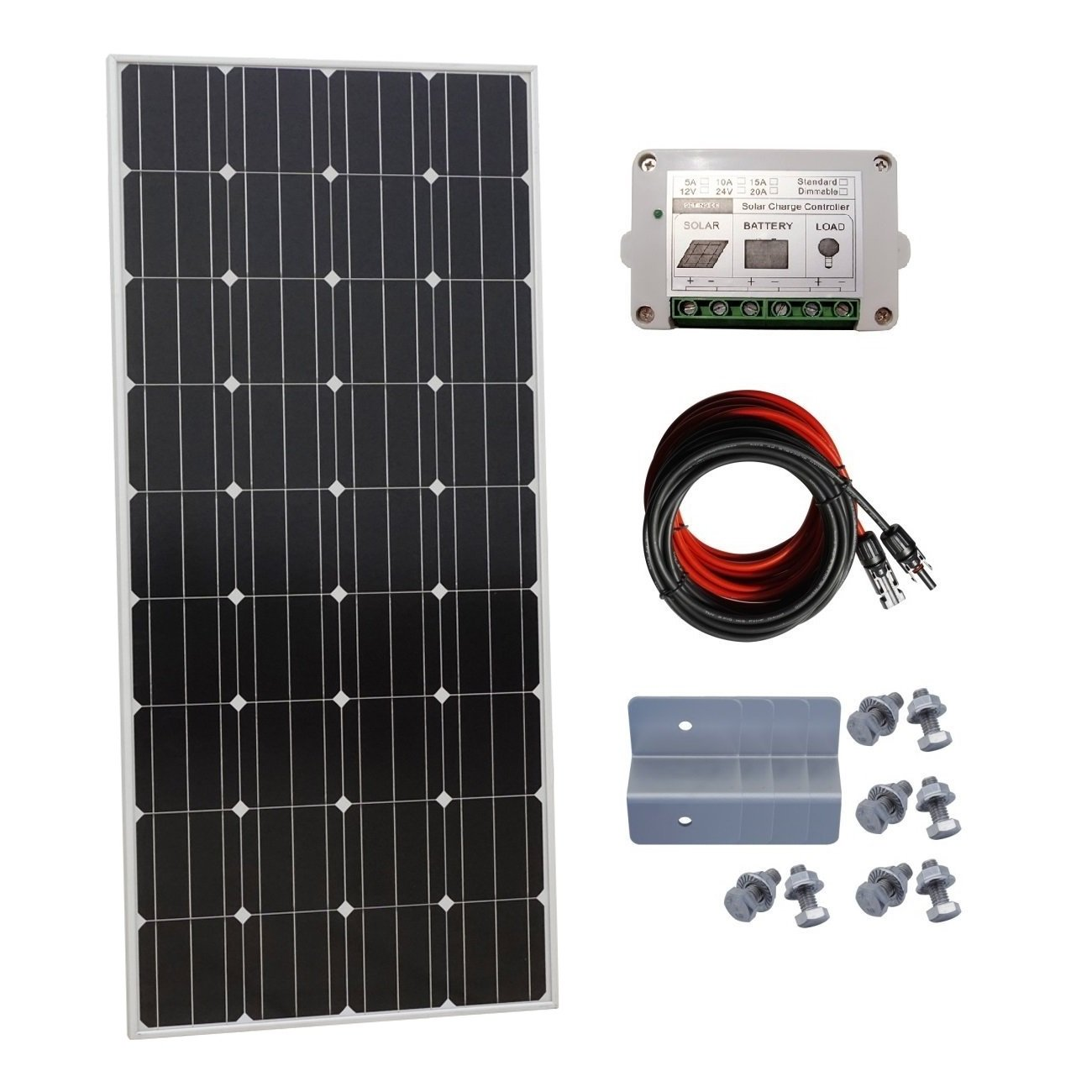 ECO-WORTHY 160 Watt 12 Volt Monocrystalline Solar Starter Kit with 15A Charge Controller
