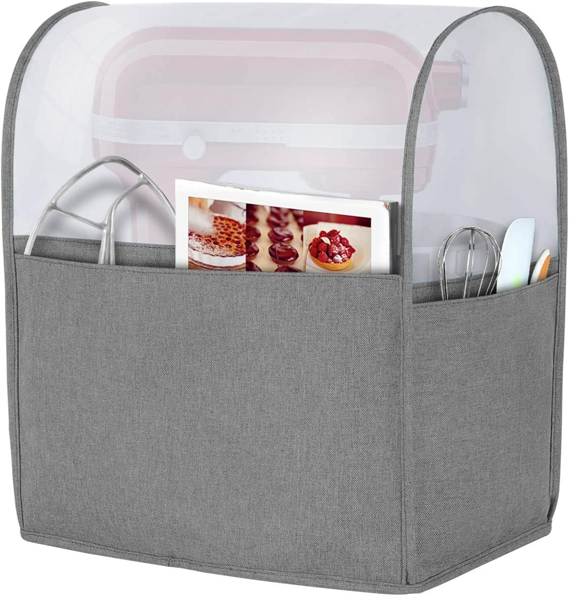 Luxja Dust Cover for 6-8 Quart Stand Mixer, Cover (Opaque Top) with Pockets for Stand Mixer and Extra Accessories (Compatible with All 6-8 Quart KitchenAid Mixers), Gray (Patented Design)