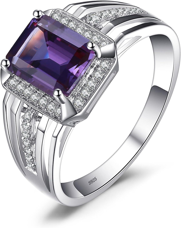 jewelrypalaces 4.7ct Gentleman & Prinz Lila de azul sintético Alexandrite Zafiro Hombre Anillos maciza piedras preciosas plata de ley 925