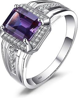 JewelryPalace 4.5ct Luxe Bague Homme en Argent Sterling 925 en Saphir d'Alexandrie de Synthèse pour Fiançailles Alliance Mariage Anniversaire Taille 67 EU-065861CLR12F