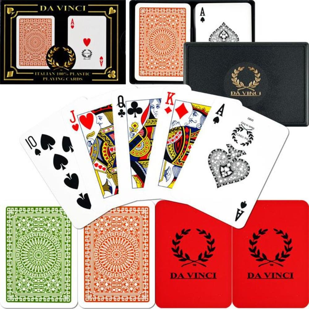2-Deck Set with Hard Shell Case /& 2 Cut Cards Da Vinci Italian 100/% Plastic Playing Cards
