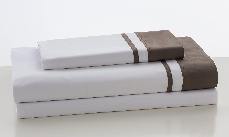 ESTELA - Juego de sábanas Lisos Marbella Color Visón - Cama de 135/140 cm (3 Piezas) - 100% Algodón - 200 Hilos - con Bajera Ajustable de 30 cm. de ...
