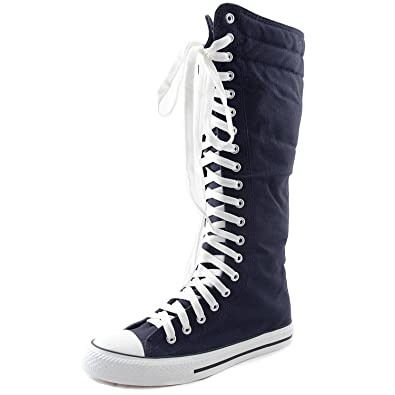 002137b5598 DailyShoes Women s Knee High Punk Sneaker Boots Punk-Hi Blue