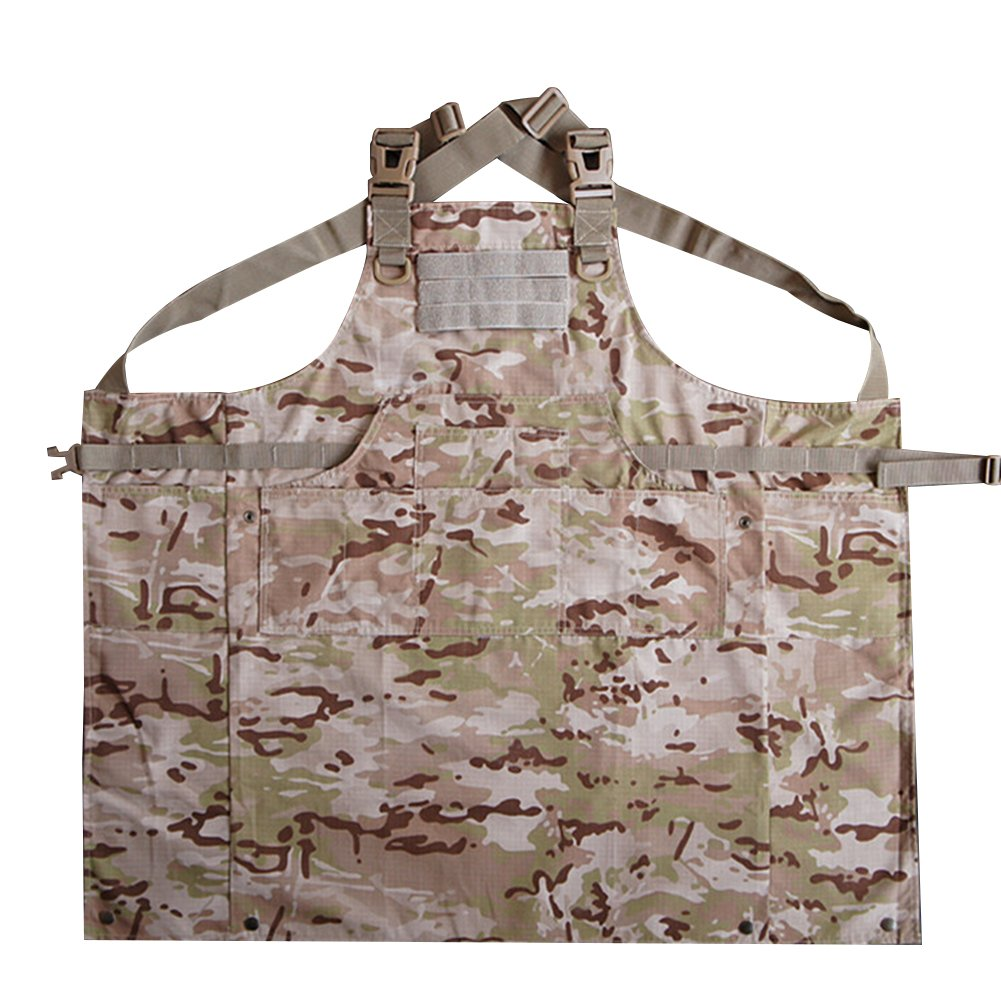 CyberDyer Male Female Tactical Working Apron with Tool Pockets Suitable for Outdoor Picnic and Daily Repair Work (Desert Camouflage) by CyberDyer (Image #5)