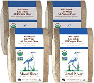 product image for Great River Organic Milling, Lily White Flour, Bread Flour, All-Purpose, Organic, 5 Pounds (Pack of 4)