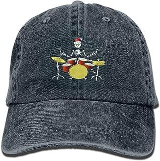dongpujidiangongsi Christmas Skull Drummer Denim Hat Adjustable Female Mini Baseball Caps