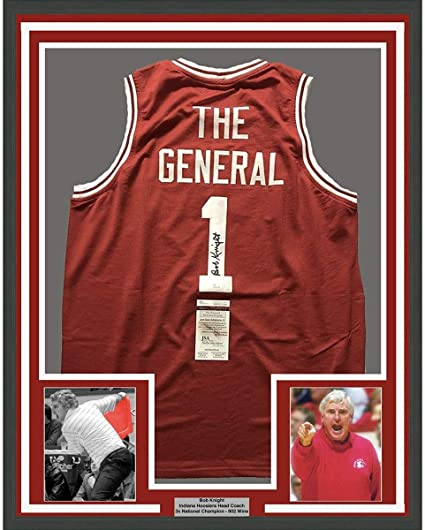 Autographed//Signed Bobby Bob Knight The General Indiana Hoosiers Red Basketball Jersey JSA COA