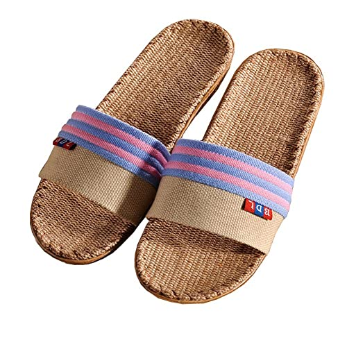 99f21d56d39eb4 WZY&JYM Fashion Unisex Stripes Linen Skidproof House Indoor Lightweight Hemp  Slippers Slide Scuff Sandals Purple
