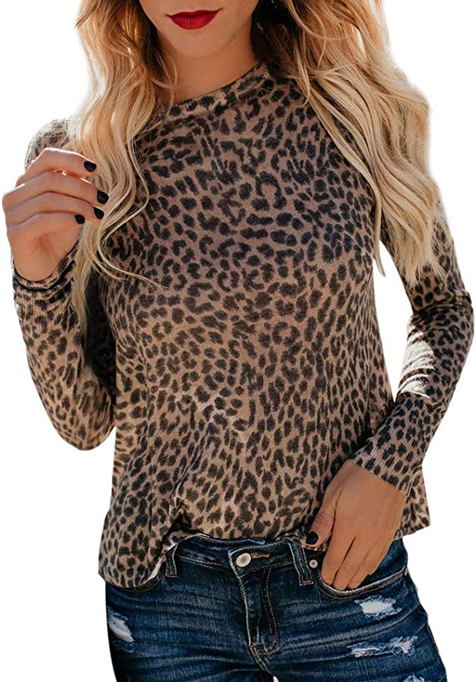 Longra Blusen Damen Elegante Blusen Lässiger Leopard Gedruckt Hemd Bluse Damen Frühling Langarmshirt Casual Sweatshirt Pullover Leopard Muster Tunika Blusen Amazon De Bekleidung