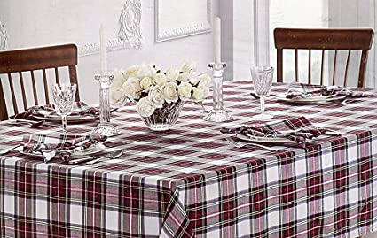 Superieur Waterford Table Linens Stewart Plaid Red/Green Tablecloth, 70 By 126 Inch