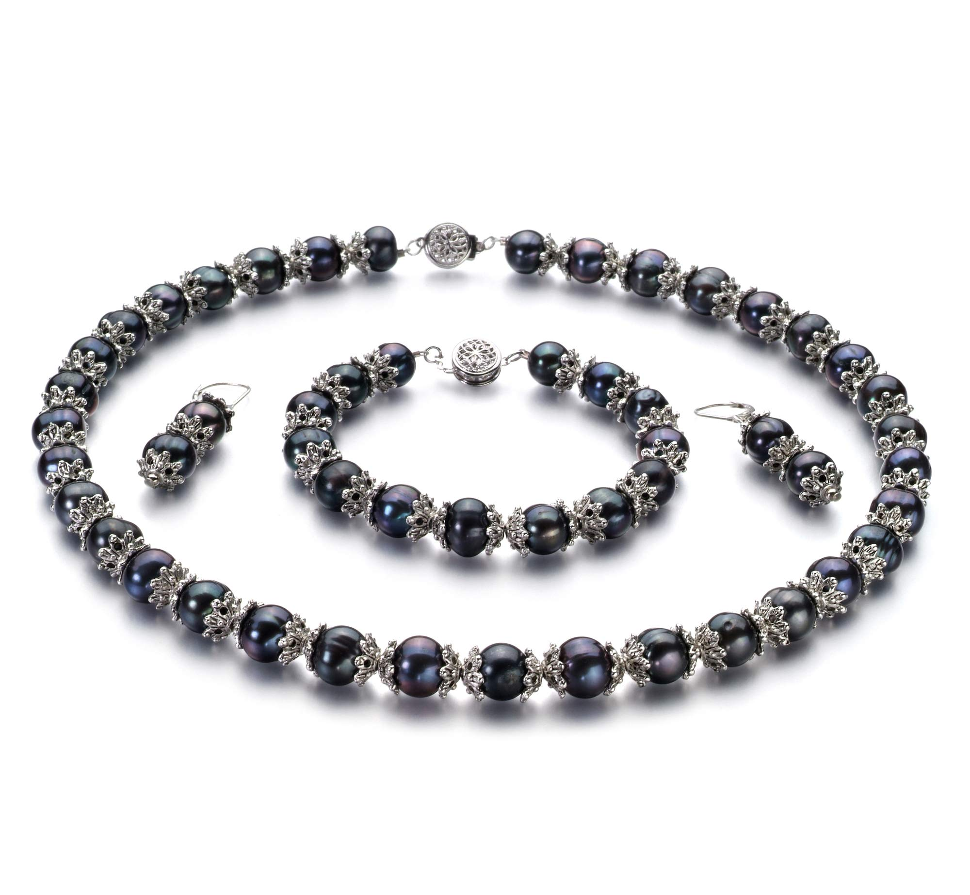 MarieAnt Black 8-9mm AA Quality Freshwater 925 Sterling Silver Cultured Pearl Set For Women